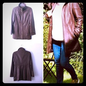 Like-New Ellen Tracy Brown Leather A-line Coat XS